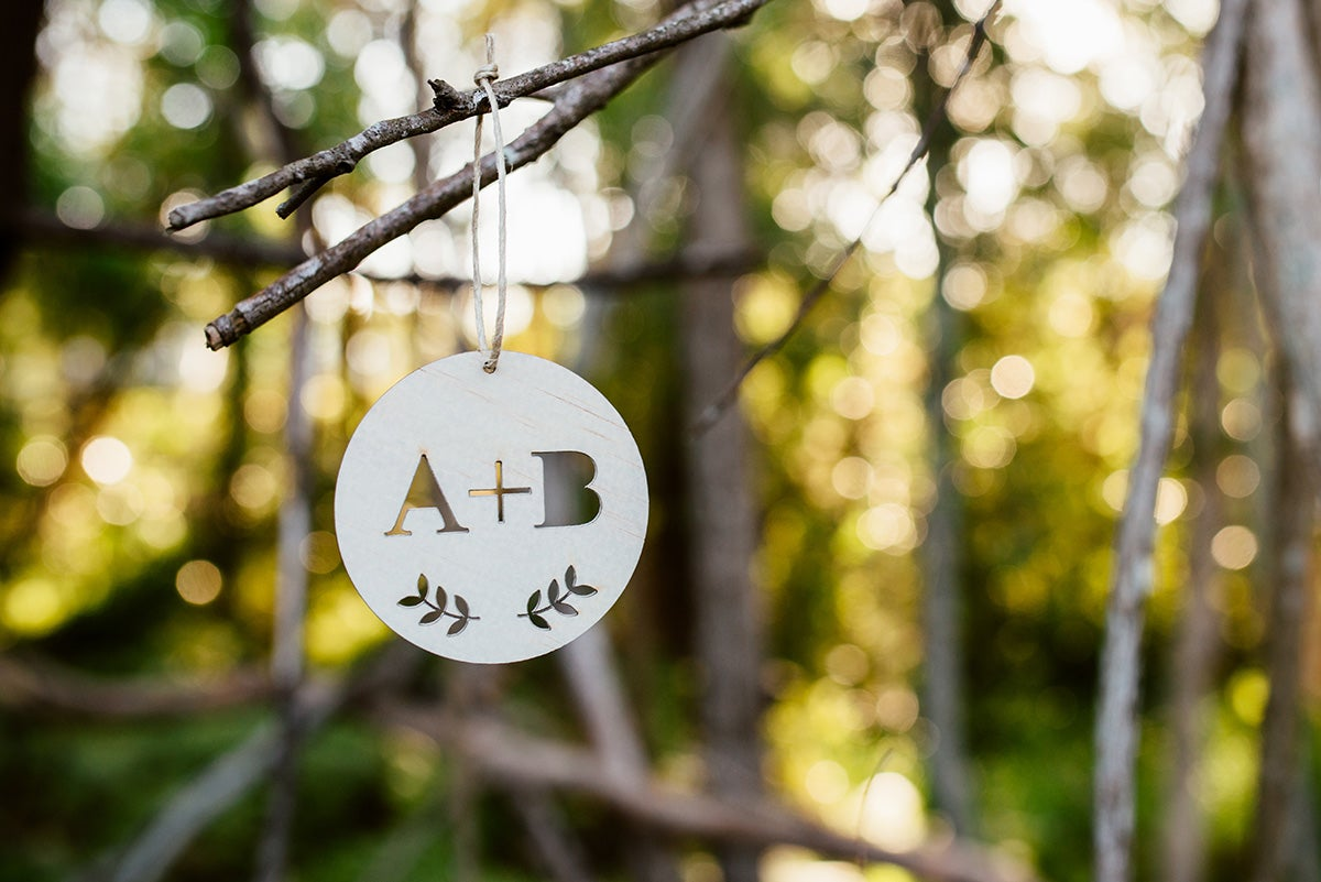 Image of LOVERS INITIALS ORNAMENT | RAW WOOD