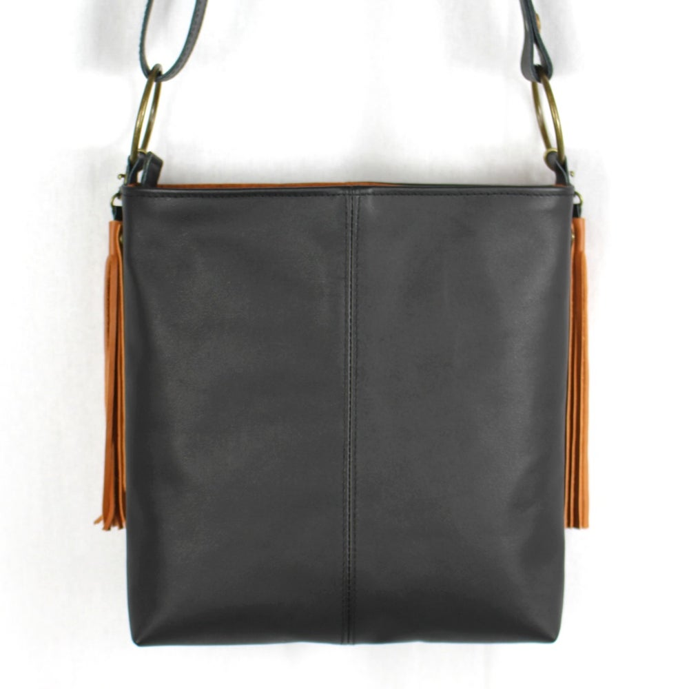 Image of Kanza Black Leather Hip Bag