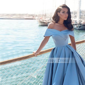 Image of Glamorous Baby Blue Satin Off-the-shoulder A-line Long Formal Dress With Slit