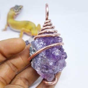 Image of Copper Wrapped Amethyst Cluster Necklace