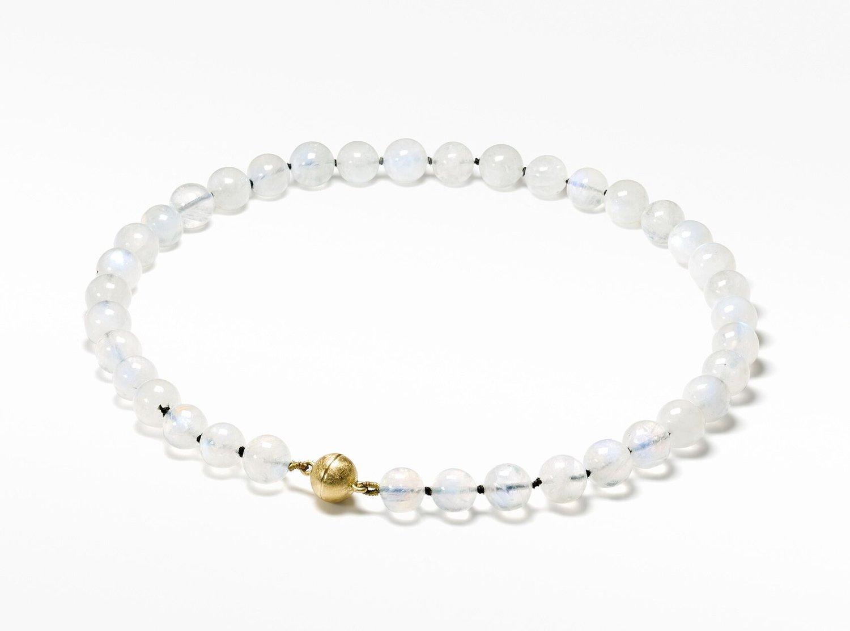 Image of 'Pure Line' regenboog maansteen collier met goud / rainbow moonstone necklace