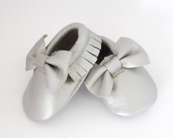 Image of Moccs cuir noeud argent