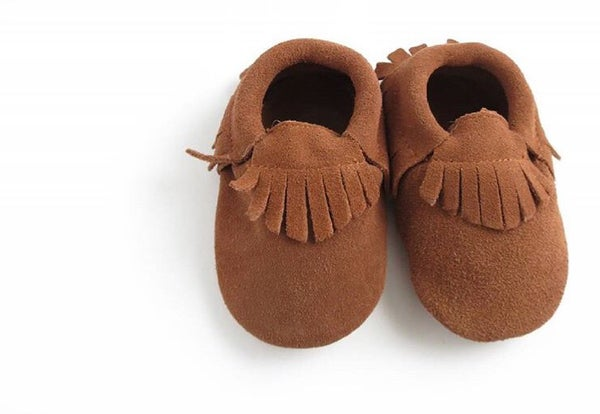 Image of Moccs daim camel franges