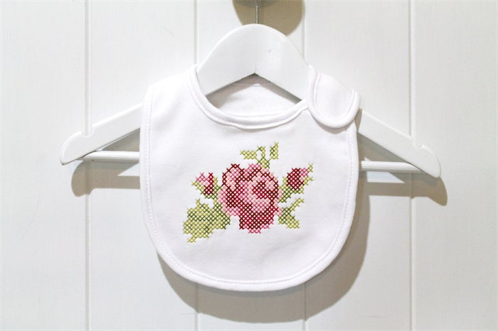 Image of Cross Stitch Rose Bib