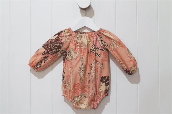 Image of Long Sleeve Playsuit - Jungle Peach