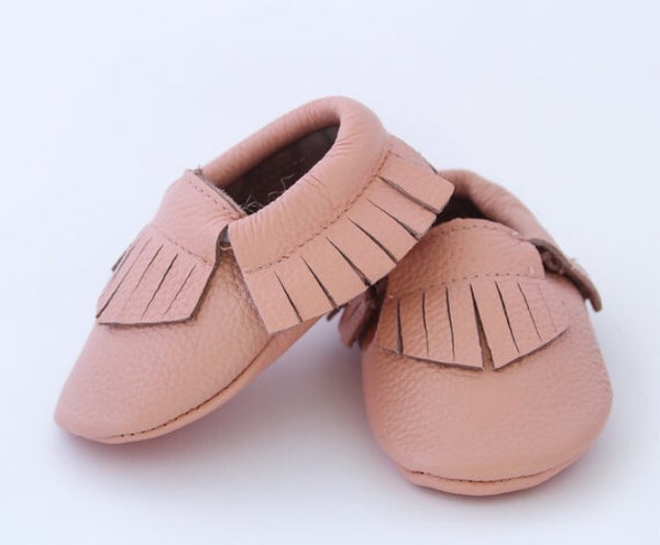Image of Moccs cuir franges rose