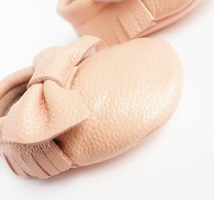 Image of Moccs cuir noeud rose