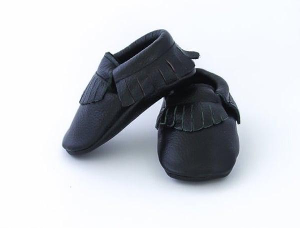 Image of Moccs cuir franges noir
