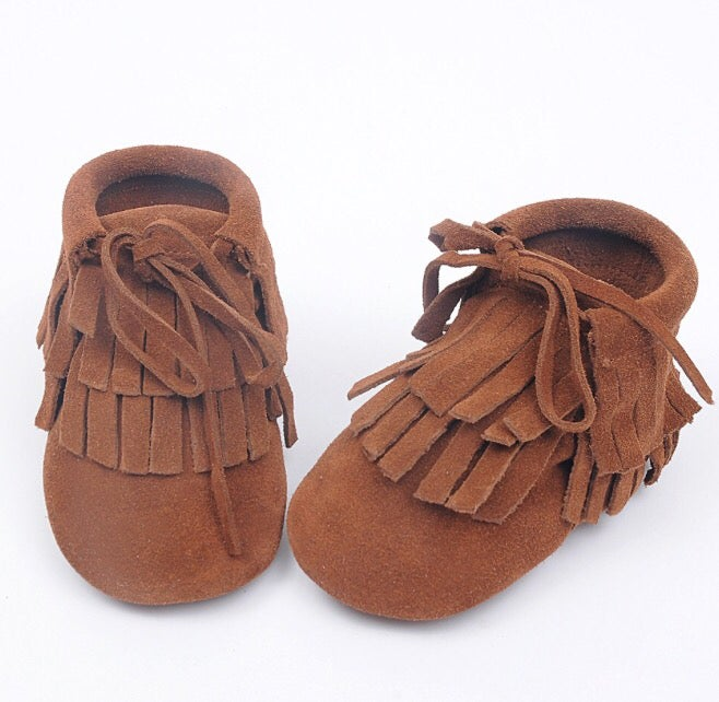 Image of Boots daim camel franges