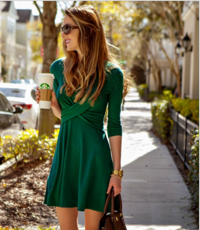 Image of Fashion cross long sleeved dress