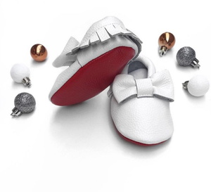 Image of Moccs cuir noeud blanche et Rouge