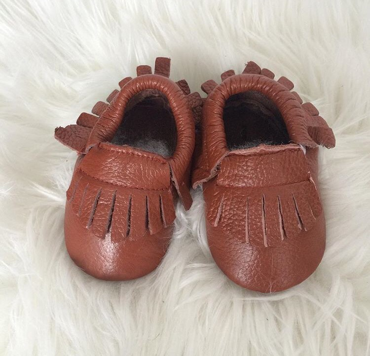 Image of Moccs cuir franges camel