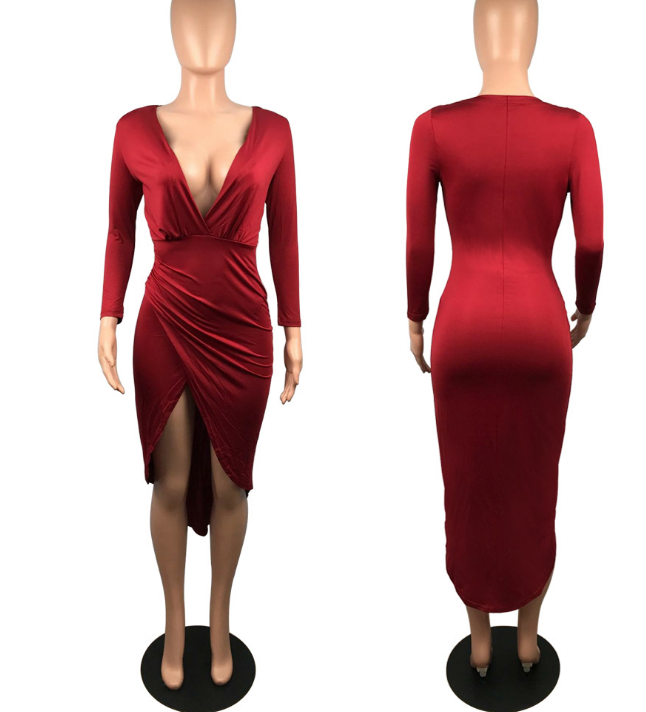Image of The new irregular deep V long sleeve dress