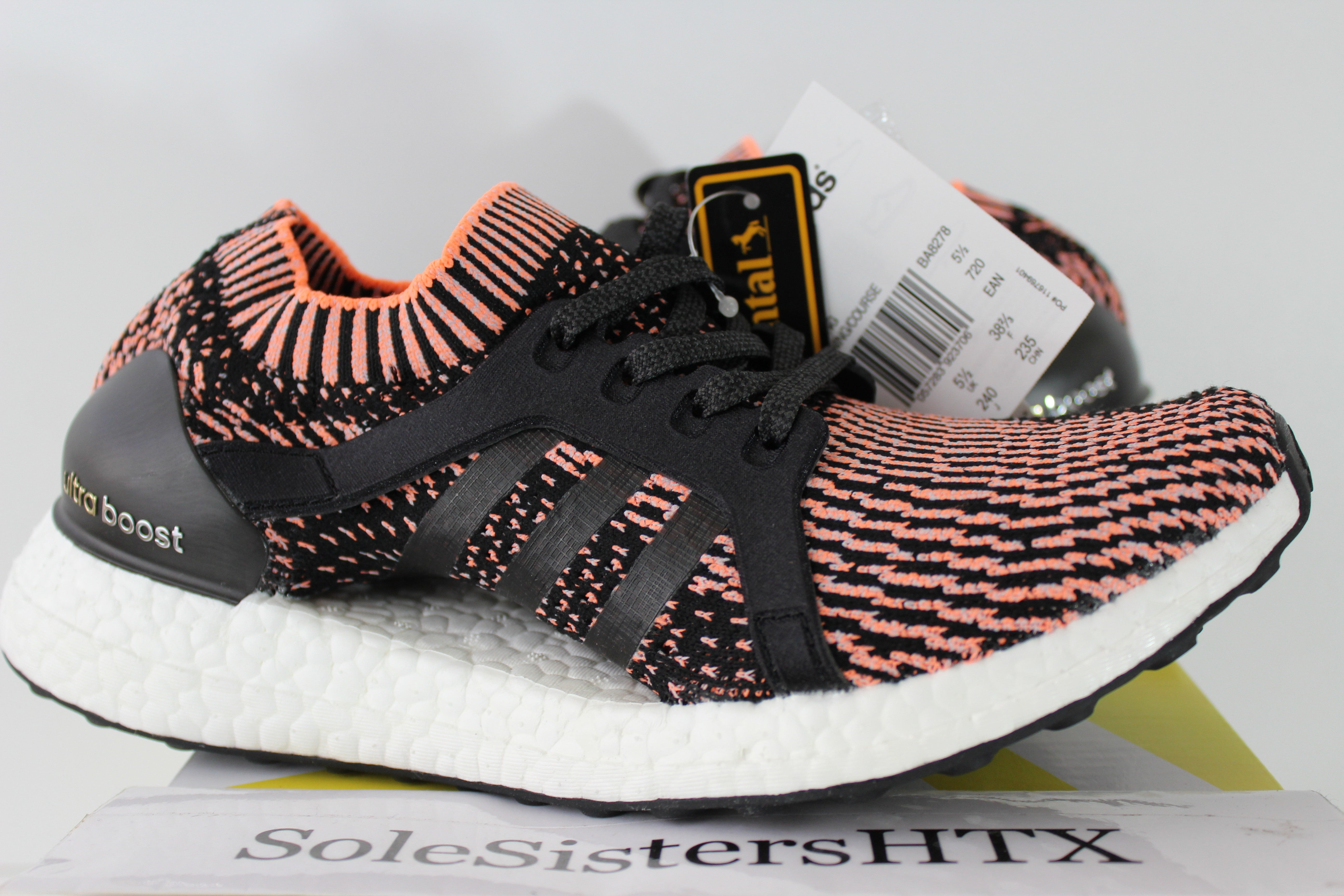b7bc950ae0b ... usa 100 authentic adidas ultra boost x black glow orange salmon ba8278  sz 7 ds new