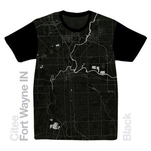 Image of Fort Wayne IN map t-shirt