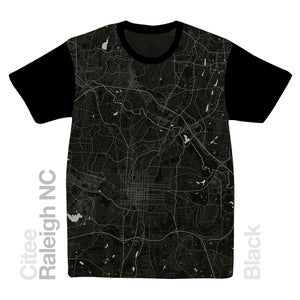 Image of Raleigh NC map t-shirt