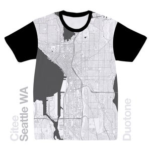 Image of Seattle WA map t-shirt