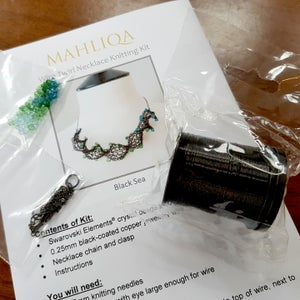 Image of TWIRL NECKLACE KNITTING KIT - Black Sea