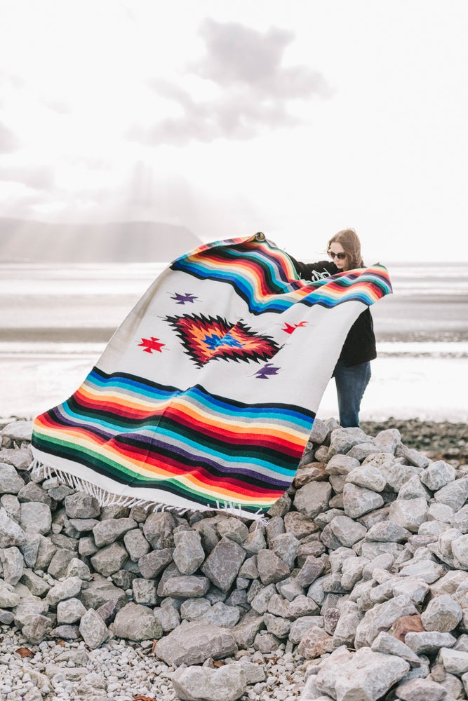 Image of Mexican Blanket featuring 'Diamond' in Cream Colour