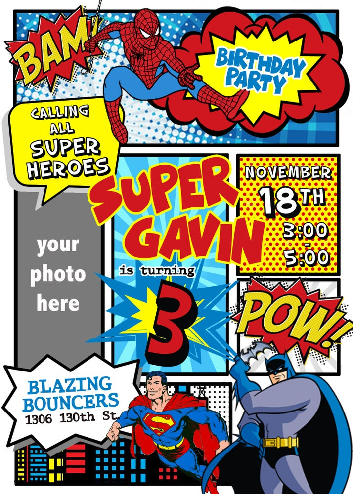 Image of Superhero Birthday Invitations
