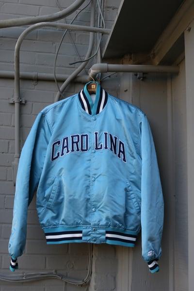 "Image of Rare 80's Vintage Starter ""North Carolina Tarheels (UNC)"" Satin Bomber Jacket Sz: LARGE"
