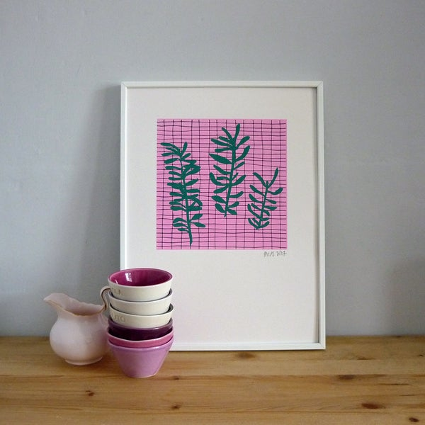 Image of Sprig Grid three colour screenprint on paper