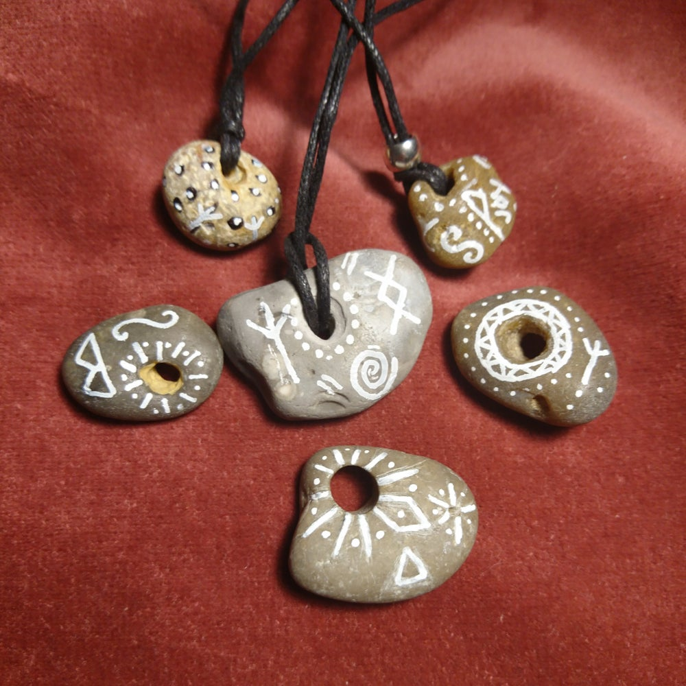 Rune Symbol Decorative Hag Stone Necklaces Ace Of Wands Hag stone fairy or wish stone talisman wiccan pagan odin stone witchcraft. rune symbol decorative hag stone