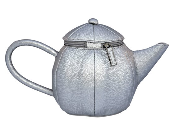 Image of Silver Metallic Teapot Clutch