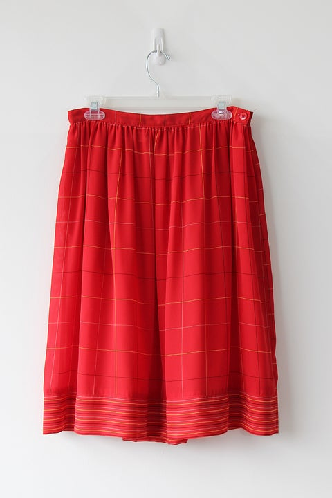 Image of SOLD Grid Lines Flowy Red Skirt