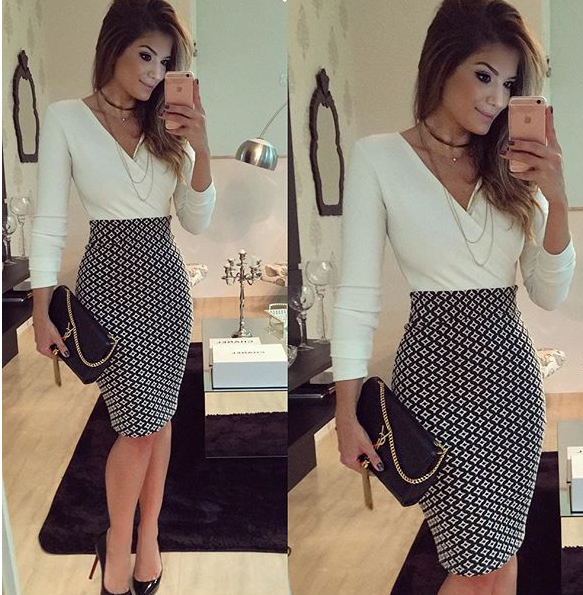 Image of White print sexy v-neck long sleeve hip dress