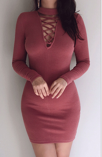 Image of High neckline cross-strap tight sexy dress