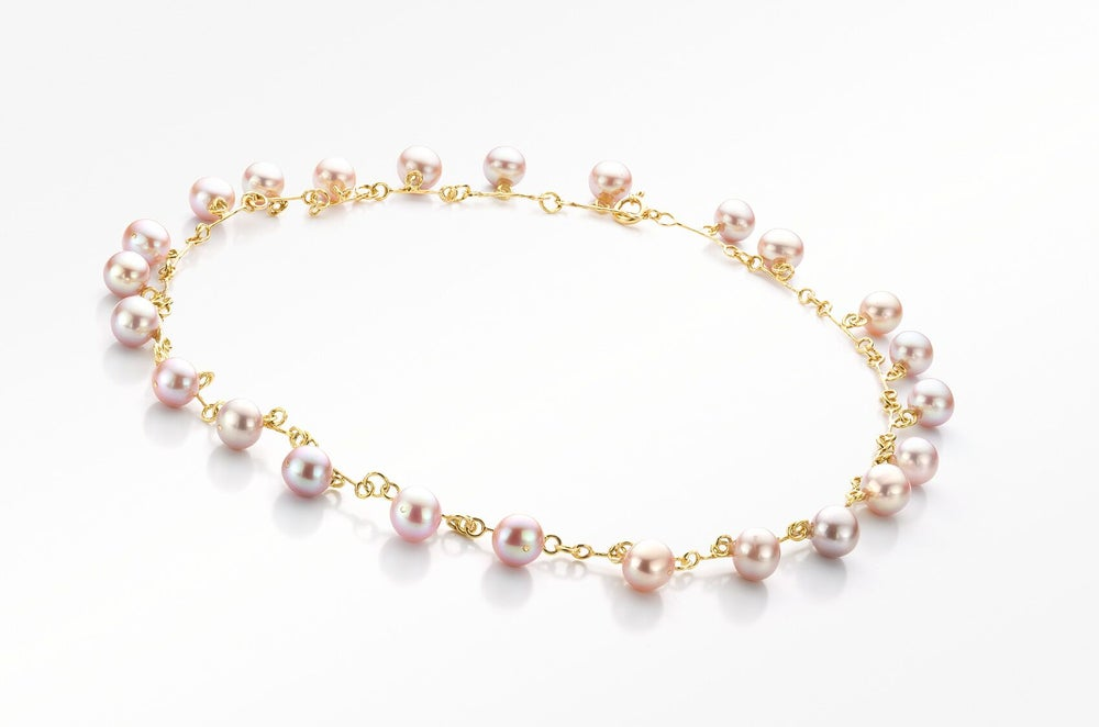 Image of 'Pearl' necklace gold pink pearls - parelcollier in geel goud met roze parels