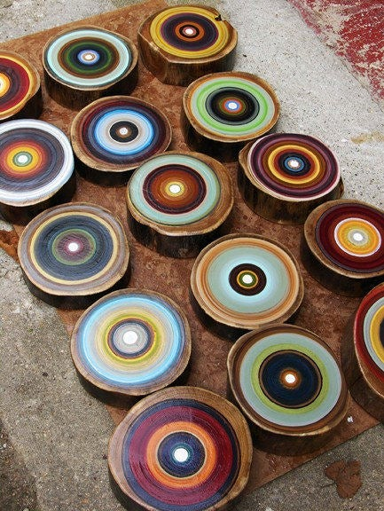 Image of Large set of 15 Tree Ring paintings
