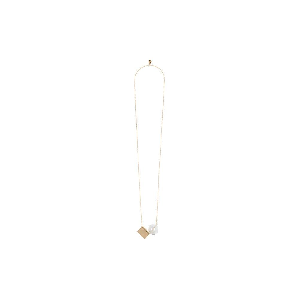 Image of Gold plated glass bead long necklace