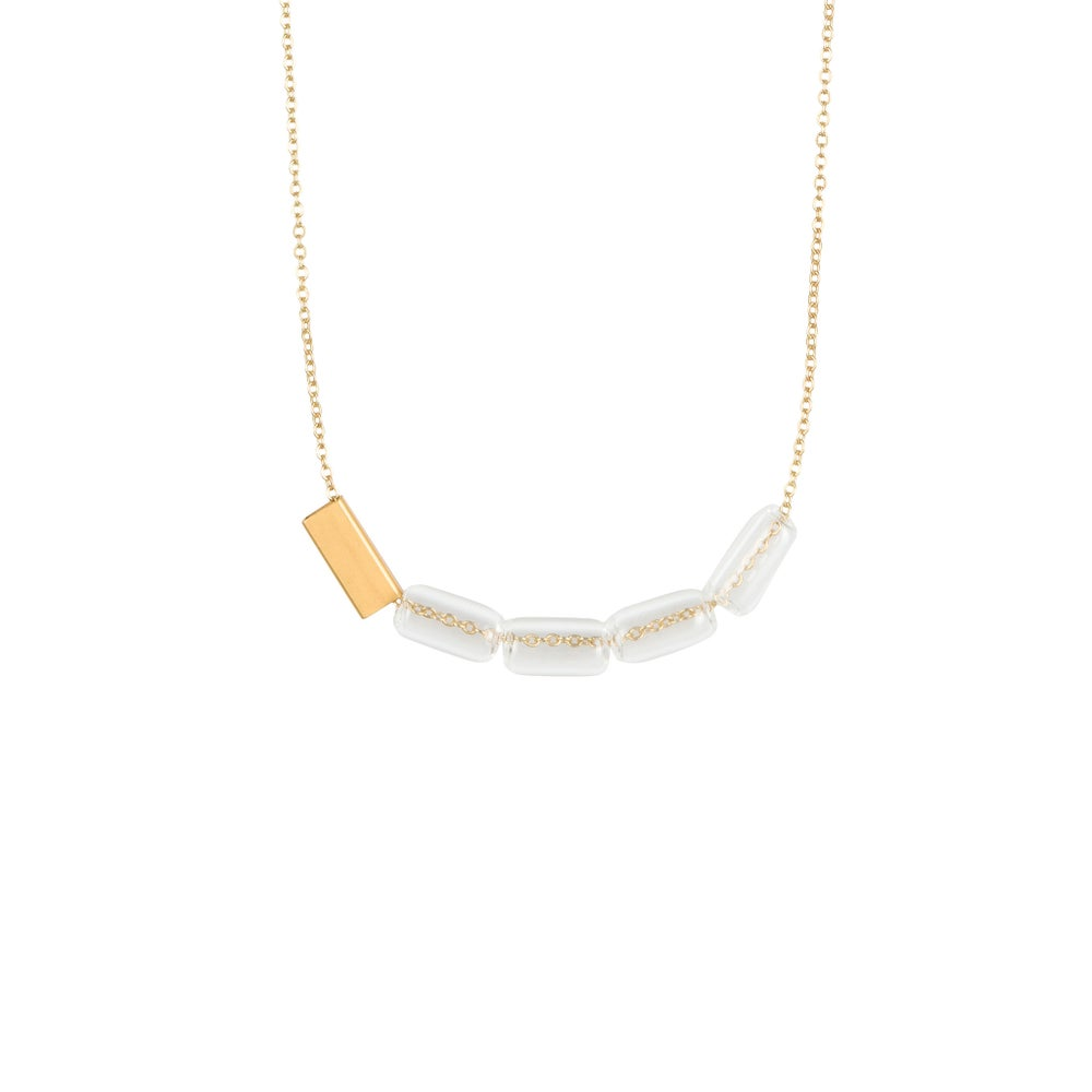 Image of Gold plated glass bead short necklace
