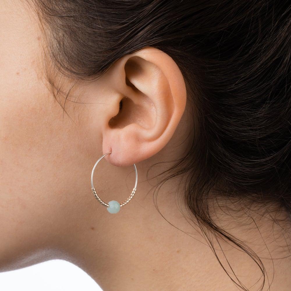 Image of Green Jade And Petite Beads Hoop Earrings