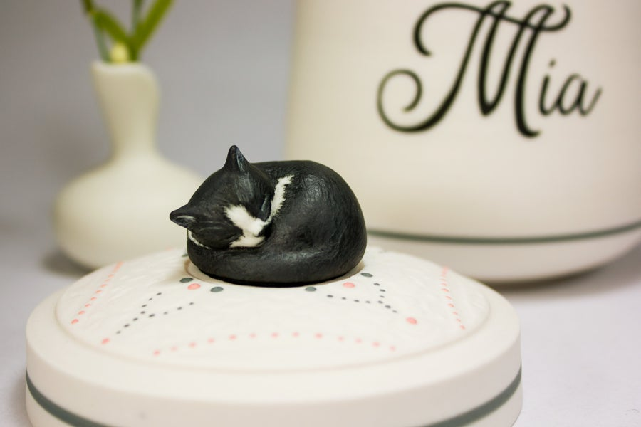 Image of Tuxedo Cat Custom Pet Urn