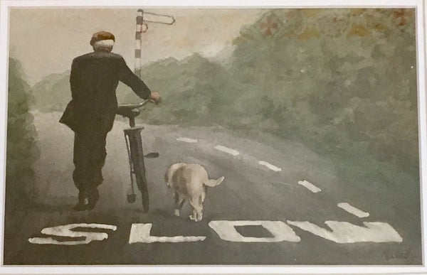 Image of Untitled: SLOW, Man and Dog with Bicycle by James Malady (Pocono Summit, PA).