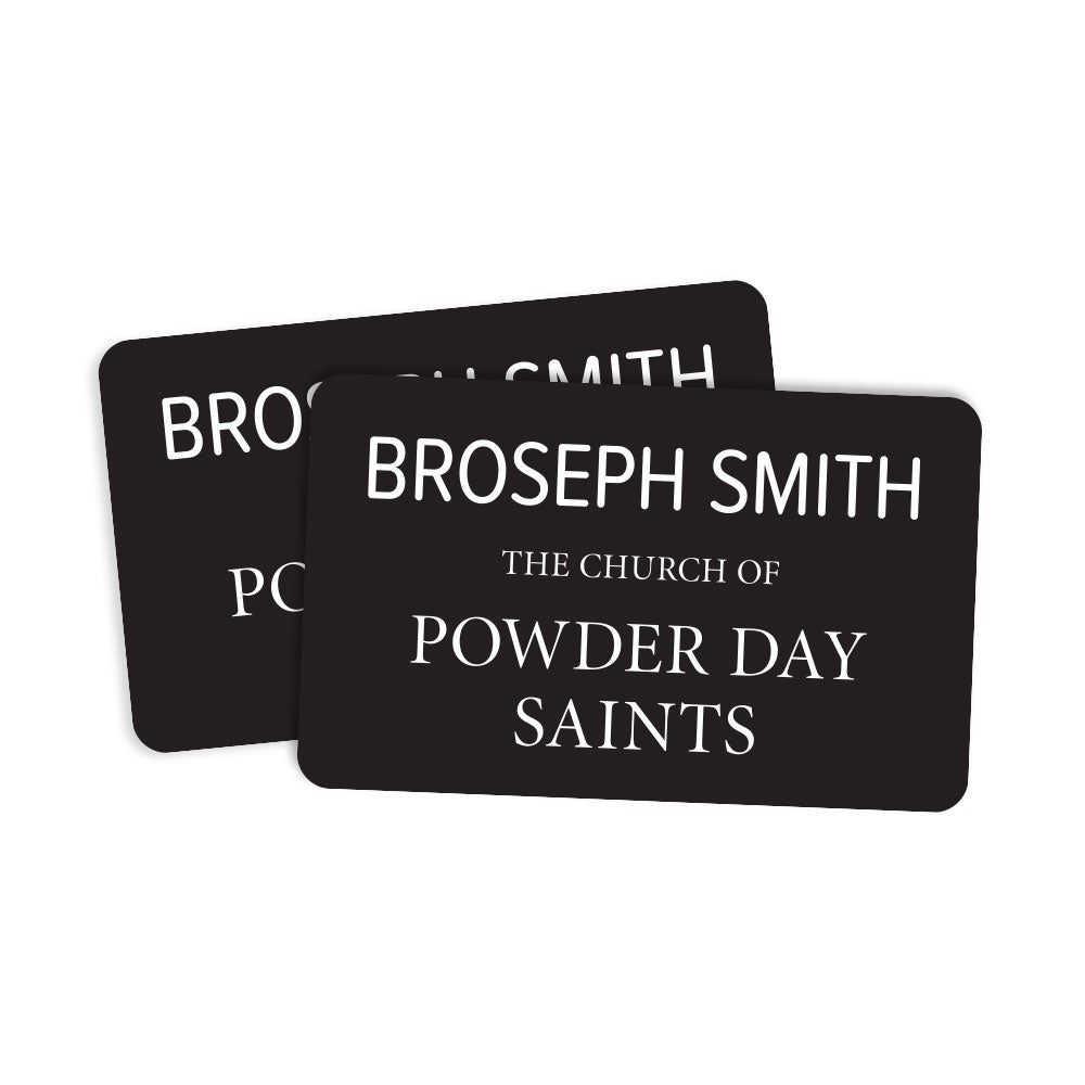 Image of Broseph Smith Missionary Tag Sticker - Pack of 2