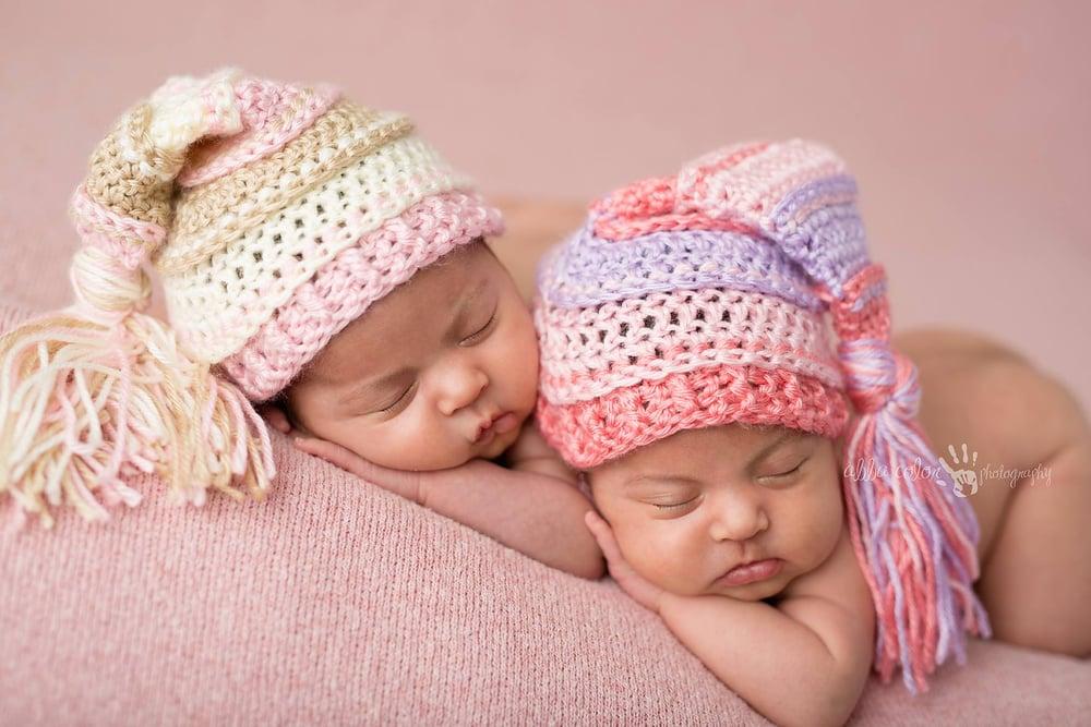 Image of Pink, Bone and Ivory Tassel Hat