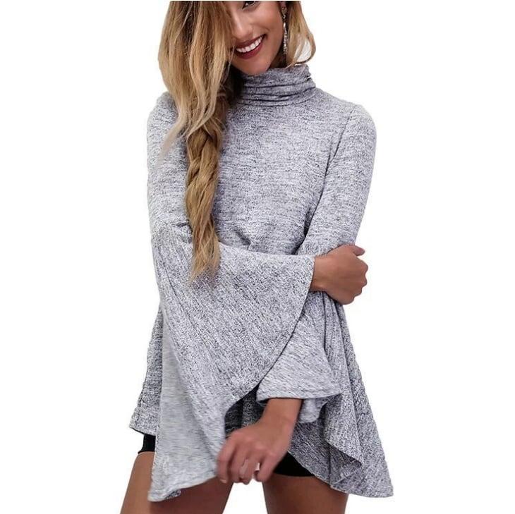 Image of Fashionable high - collar flared sleeve shirt