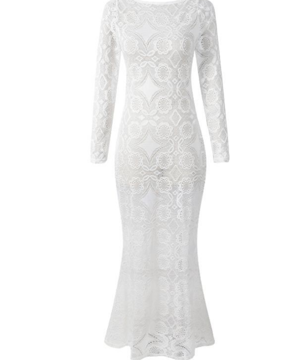 Image of Hot - selling lace - back long sleeve gown