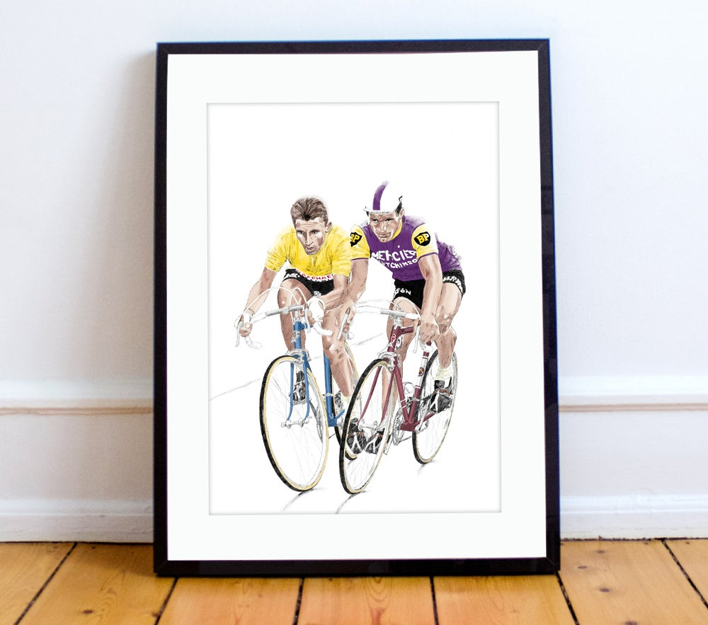 Image of Anquetil & Poulidor A4 print - by Jason Marson