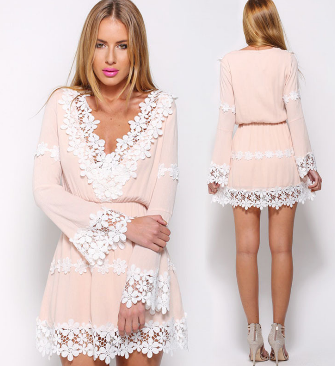 Image of New v-neck lace and long sleeved chiffon skirt