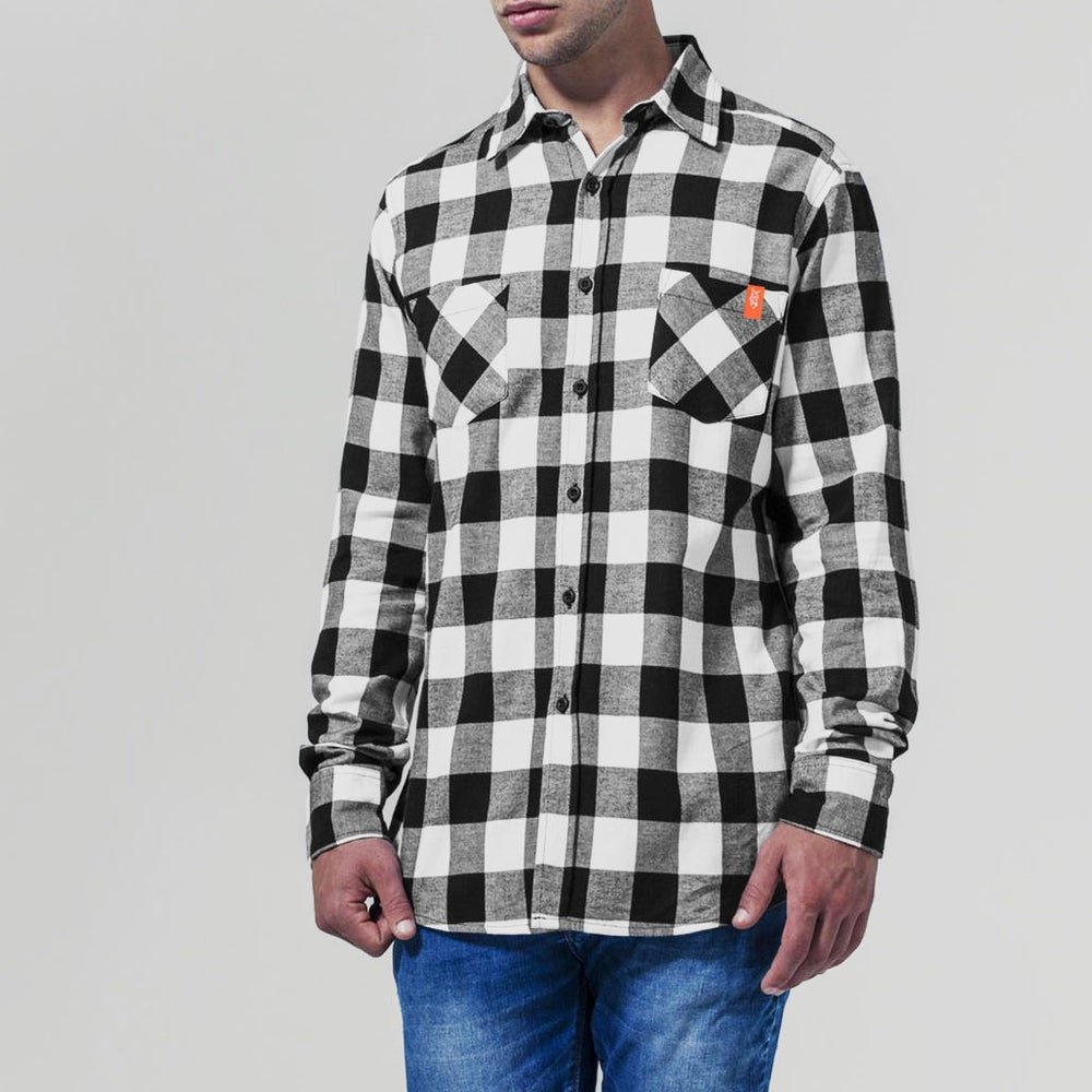Image of Cromford Flannel Checked Shirt in B&W
