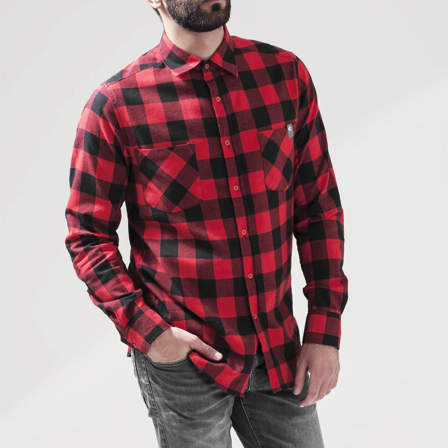 Image of Cromford Flannel Checked Shirt in RedBlk