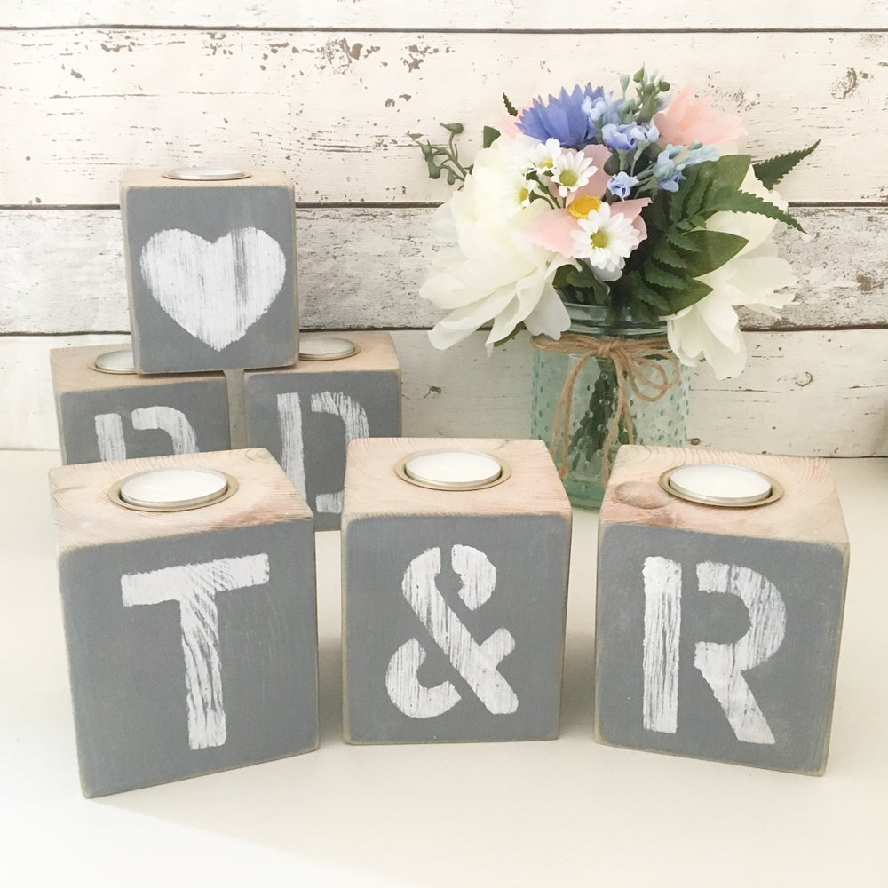 Image of Personalised grey tealight cube