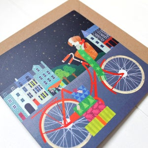 Image of Red Bike In Edinburgh Christmas Card