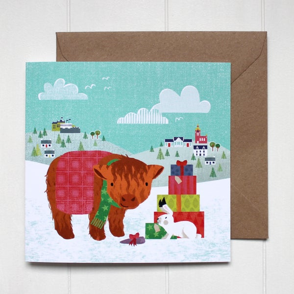 Image of Highland Cow and Hare Christmas Card