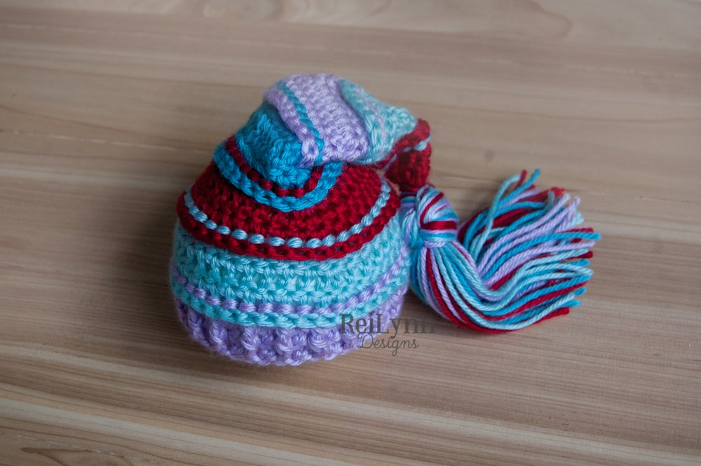 Image of Red, Aqua, Lavender and Turquoise Tassel Hat